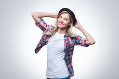 Closeup studio portrait of hipster young woman Royalty Free Stock Photo