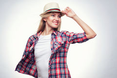 Closeup studio portrait of hipster young woman Stock Photo