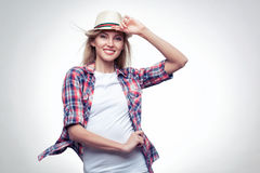 Closeup studio portrait of hipster young woman Royalty Free Stock Images