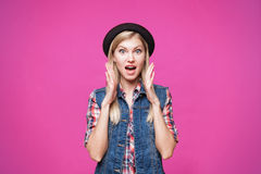 Closeup studio portrait of hipster young woman Royalty Free Stock Image