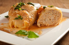 Closeup of stuffed cabbage rolls with tomato souce and herbs Royalty Free Stock Photos