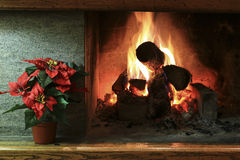 Closeup of stylish home fireplace Royalty Free Stock Photography