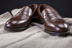 Closeup of Stylish Modern Brown Leather Penny Loafer Shoes Stock Photos