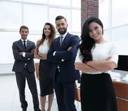 Successful business team in the background of the office. Royalty Free Stock Images