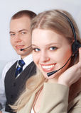 Closeup of successful customer service people Stock Images