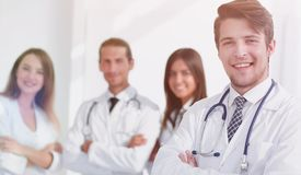 Closeup.successful doctors of his colleagues. Photo with copy space Royalty Free Stock Image