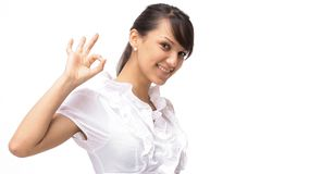 Closeup.successful young woman showing the sign OK. The concept of success Royalty Free Stock Photo