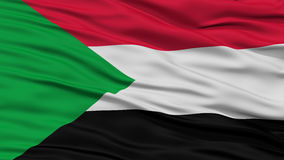 Closeup Sudan Flag. Waving in the Wind, High Resolution Stock Photos