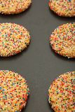 Closeup Of Sugar Cookies On Sheet Stock Photos