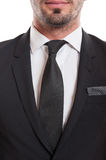 Closeup of suit, necktie, and beard chin Stock Photo