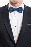 Closeup with suit, shirt and bow tie Royalty Free Stock Photography