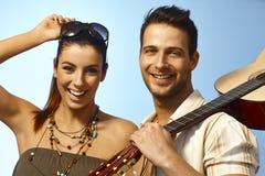 Closeup summer portrait of happy couple Stock Photography