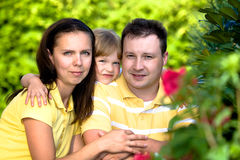 A closeup summer portrait of a happy family Royalty Free Stock Photography