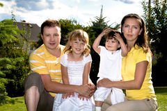A closeup summer portrait of a happy family Royalty Free Stock Image