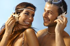 Closeup summer portrait of loving couple Stock Images