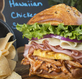 Closeup Of Sumptuous Hawaiian Chicken Sandwich Royalty Free Stock Photo