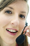 Closeup of support phone operator Stock Photos