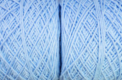Closeup surface of fabric pattern at pile of blue yarn texture background Royalty Free Stock Photo