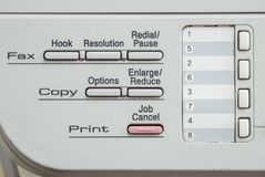 Closeup surface function of old photocopier and fax machine in the office textured background. Closeup function of old photocopier and fax machine in the office Stock Photography