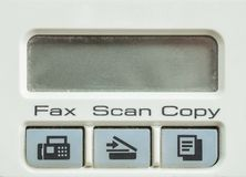 Closeup surface function of old photocopier and fax machine in the office textured background with blank space at screen. Closeup surface function of photocopier Stock Photo