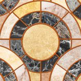 Closeup surface tile circle pattern by mix of color marble stone floor texture background. Closeup surface tile circle pattern by mix of color marble stone floor royalty free stock image