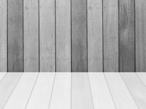 Closeup surface wood pattern at the old wood wall texture background  with reflection at the floor in black and white tone Stock Photography