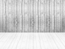Closeup surface wood pattern at the old wood wall texture background  with reflection at the floor in black and white tone Royalty Free Stock Photo