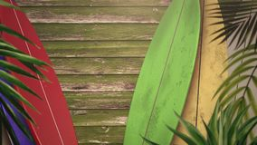 Closeup surfing boards and tropical leaves, summer background. Elegant and luxury dynamic 80s, 90s retro style animation footage stock footage