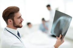 Closeup.surgeon examining an x-ray. Photo with copy space Royalty Free Stock Photo