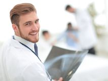 Closeup.surgeon with x-ray. Photo with copy space Stock Images