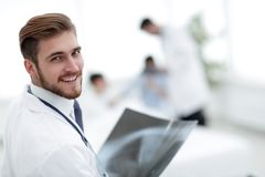 Closeup.surgeon with x-ray. Photo with copy space Stock Image