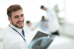Closeup.surgeon with x-ray. Photo with copy space Royalty Free Stock Photo