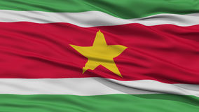 Closeup Suriname Flag. Waving in the Wind, High Resolution Stock Image