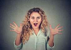 Closeup surprised astonished woman amazed Royalty Free Stock Photos