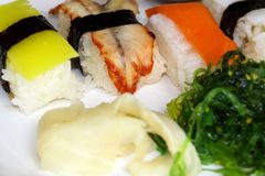 Closeup sushi fish and rice Stock Images