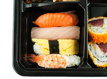 Closeup of sushi in a Japanese Lunch box Royalty Free Stock Photo