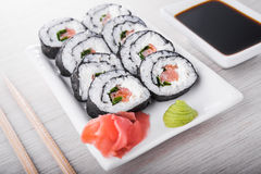 Closeup of sushi rolls Royalty Free Stock Photography