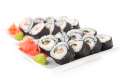 Closeup of sushi rolls with salmon Royalty Free Stock Images