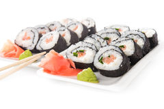 Closeup of sushi rolls Stock Images