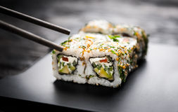Closeup of sushi rolls with vegetable filling Stock Photos