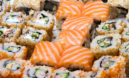 Closeup of the sushi set with salmon Royalty Free Stock Images