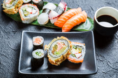 Closeup of sushi with soy sauce Royalty Free Stock Photo