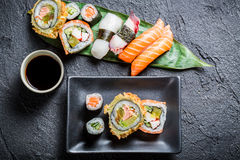 Closeup of sushi with soy sauce Royalty Free Stock Photography