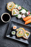 Closeup of sushi with soy sauce Stock Photos