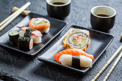 Closeup of sushi for two people Stock Photos