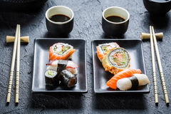 Closeup of sushi for two people Stock Image