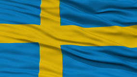 Closeup Sweden Flag. Waving in the Wind, High Resolution Stock Image