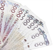 Closeup of swedish 500 and 1000 bills Royalty Free Stock Image
