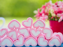 Closeup of sweet marshmallow in the shape of heart. On wooden plate and flower at background. Concept about love and relationship. Soft Style for Background Royalty Free Stock Images