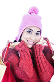 Closeup sweet woman dressed for winter Stock Photography